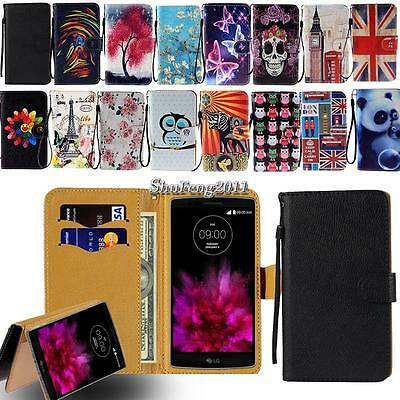 Leather Flip Card Wallet Stand Cover Case For Various LG SmartPhone - Strap