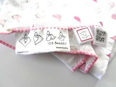 1-2-3  Swaddle Designs Baby Girl Blanket- White with Pink Birds
