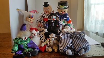 Lot Of Vintage Circus Clown Figurine Dolls Including Porcelain Walking Wind Up