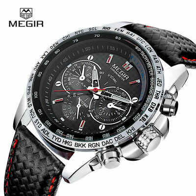 MEGIR Mens Stainless Steel Analog Waterproof Sports Quartz Military Wrist Watch