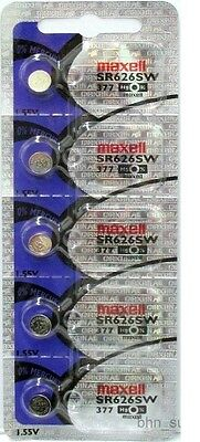 5 Maxell 377 SR626SW Silver Oxide Batteries 1-55 Volt Made In Japan