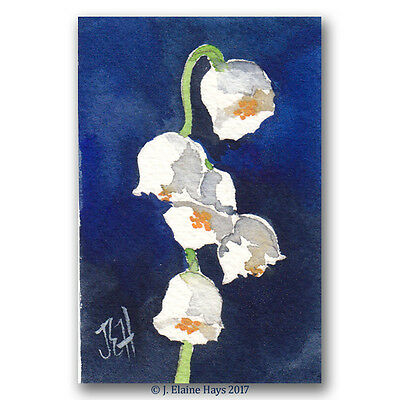 Lily of the Valley ORIGINAL PAINTING in Watercolor Miniature Flower Art 2x3