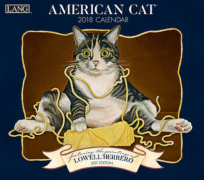 American Cat 2018 Lang Full-Size Wall Calendar January-December by Herrero