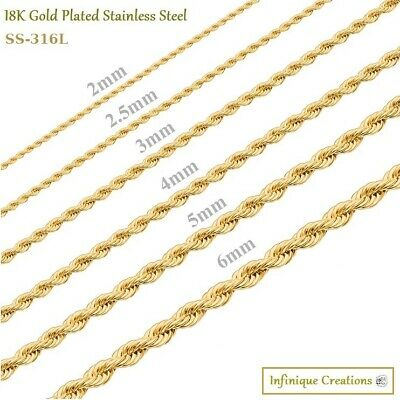 24K Gold Plated Stainless Steel Rope Chain Necklace Men Women 2mm to 8mm
