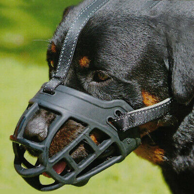 Large Medium Dog Basket Muzzle Soft Silicone Mesh Cage No Barking Biting Chewing