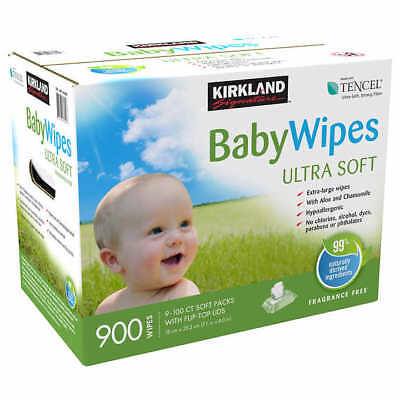 KIRKLAND Baby Wipes Tencel 900 Ct  Ultra Soft Free Of Dyes - Alcohol SEALED