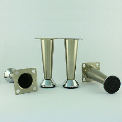 4x Furniture Legs Cabinet Feet Stainless Steel 4 Chrome