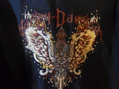Womens Long Sleeve Embroidered Harley Davidson Shirt Size XL