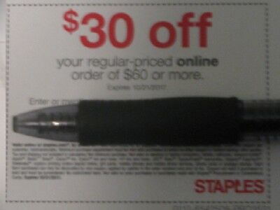 One Staples 30 OFF 60 Online Or Phone-exp 102117-