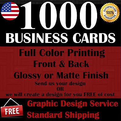 1000 CUSTOM BUSINESS CARDS  FULL COLOR  FREE SHIPPING  FREE DESIGN SERVICE