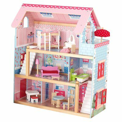 KidKraft Chelsea Wooden Dollhouse Pretend Play House Cottage w Furniture 65054
