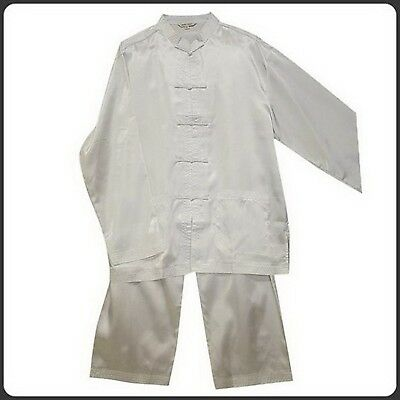 THY COLLECTIBLES Traditional Chinese Silk Tai Ji Kung-Fu Suit Plain White