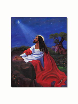Black Jesus Praying at Gethsemane Rock Wall Picture 8x10 Art Print