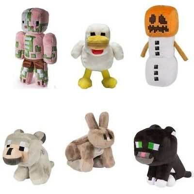 Minecraft Plush Toys 18-23cm Chicken Rabbit Snow Golem Cat Zombie Pigman