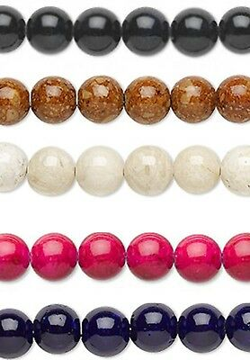 10 River Stone Round Polished Stone Beads 8MM Choice Of Color