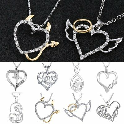 Crystal Heart Angel Devil Pendant Necklace Jewelry Grandmother Mothers Day Gift