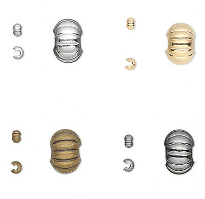 50 Corrugated Crimp Tube Bead Covers 3MM 4MM 5MM Gold  Silver  - Gunmetal Plated
