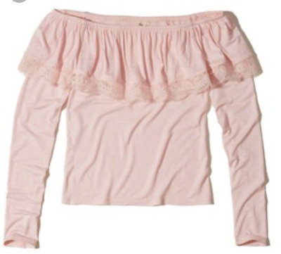 NWT HOLLISTER Co- Ruffle Off-The-Shoulder Top Long Sleeve Pink size Small