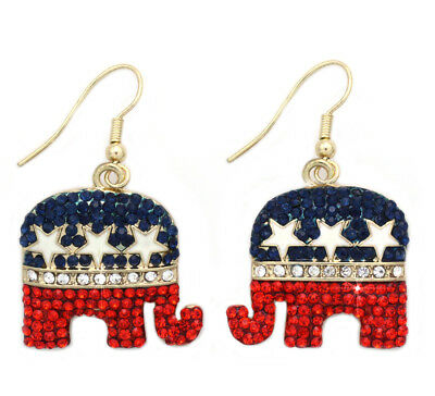 4th of July USA Flag GOP Republican Party Star Elephant Charm Hook Earrings