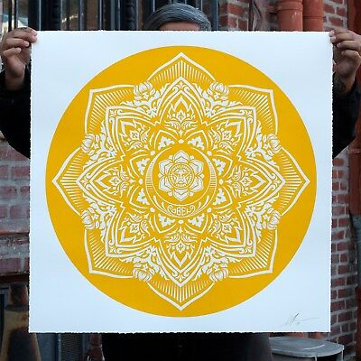 Shepard Fairey Yellow Mandala Print Limited Ed- Large Format Art Elysium Obey