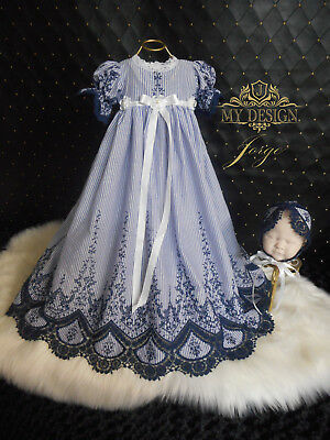 Gorgeous Blue Jean Embroidered  0-3 Month Gown-