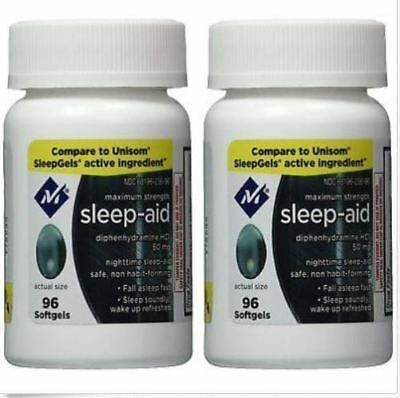 Sleep Aid Sleeping Pills Members Mark Diphenhydramine 50 mg 192 softgels