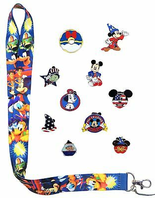 Fourth of July Lanyard Set with 10 Assorted Disney Park Trading Pins  Brand NEW