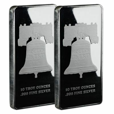 10 oz Silver Bar Proclaim Liberty  Lot of 2 In Original Mint Plastic