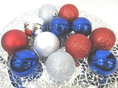 Americana Patriotic 4th of July Red Silver Blue Shatterproof Ornaments 2-5 S12