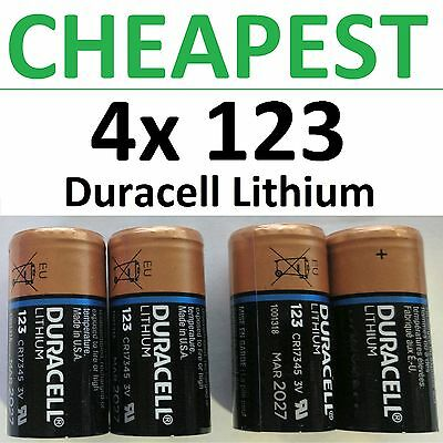 4 x NEW 123 Duracell 3V Lithium Batteries CR123A DL123 Photo EXP 2026-