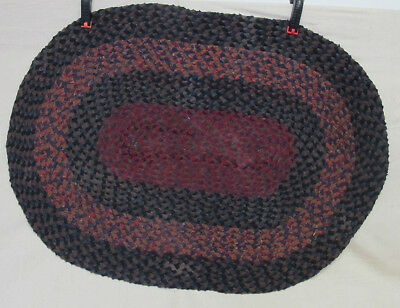 AntiqueVintage Primitive Braided Red - Navy Blue Oval Throw Rug 42 x 30 yqz