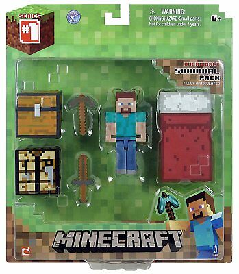 16450 Minecraft 3 STEVE Overworld Survival Pack Series 1 FACTORY SEALED