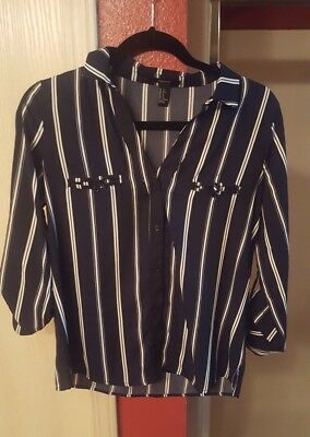 Forever 21 Pinstripe Blouse Top Sz Small