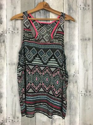American Eagle Outfitters Womens Large Tank Top Casual Summer Pink Black Blue