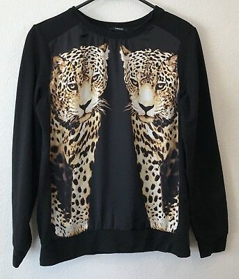 Forever 21 Womens S Shirt Top Black Leopard Cats Long Sleeve Crew Neck