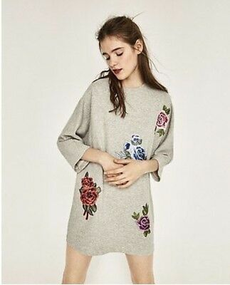 Zara Grey Sweater Dress With Floral Embroidered Size SMALL