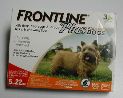 Frontline Plus for Dogs 5 - 22 lbs 3 pack 100 Genuine U-S EPA Approve