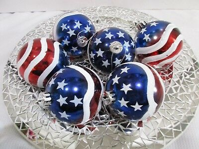 Patriotic 4th of July Red White Blue Shatterproof Ornaments 3-5 Set Of 6