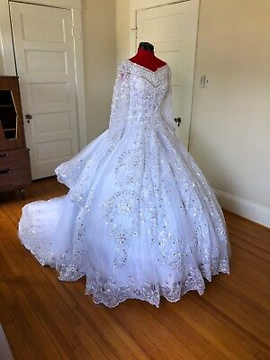 Size 4-10 White Beaded Lace Wedding Dress - Ball Gown