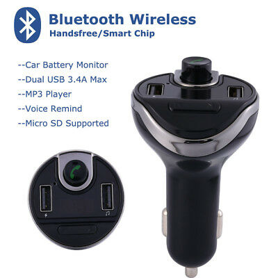 Bluetooth Handsfree FM Transmitter MP3 Player Dual USB Car Charger for Car Radio
