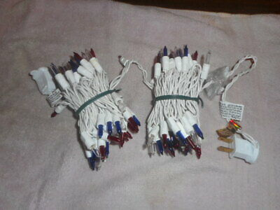 RED WHITE - BLUE 100 MINI LIGHTS PATRIOTIC 4th of JULY CHRISTMAS WHITE WIRE