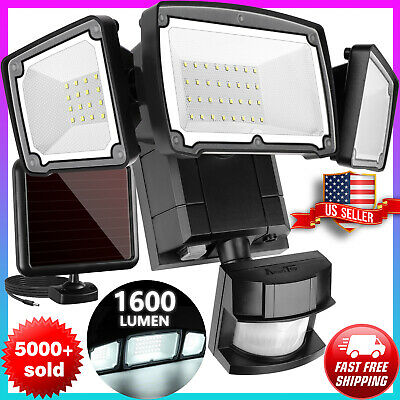 [Upgrade] Solar Lights Outdoor 1600LM LED Motion Sensor 3 Adjus Heads