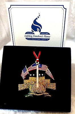 4th of July Patriotic Tin Ornament Lighting Freedoms Flame 2001