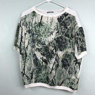 Zara Sz L Mixed Material Short Sleeve Green White Print Knit Top Shirt Large