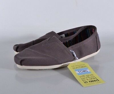 NEW Toms Classic Ash Canvas Shoes Womens 7-5 MED Flats 10000871 Casual Slip-on