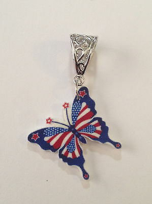 BUTTERFLY FOURTH OF JULY PENDANT CHARM NECKLACE 4TH JULY