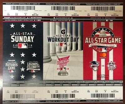 2018 MLB BASEBALL ALL-STAR GAME WORKOUT AND SUNDAY TICKET STUBS