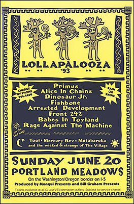 TOOL ALICE IN CHAINS PRIMUS Lollapalooza 1993 Portland Original Concert Poster