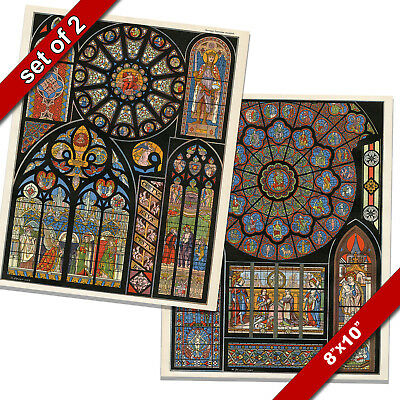 STAINED GLASS CATHEDRAL OF NOTRE DAME PARIS REIMS REAL CANVAS ART PRINT SET OF 2