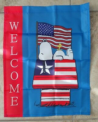 Peanuts Snoopy - Woodstock 4th of July 14x18 in- Welcome Patriotic Garden Flag